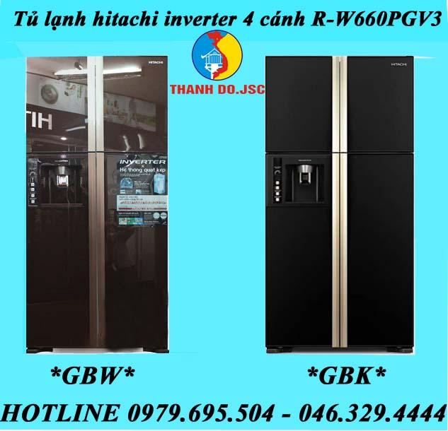 tủ lạnh hitachi inverter 4 cánh R-W660PGV3